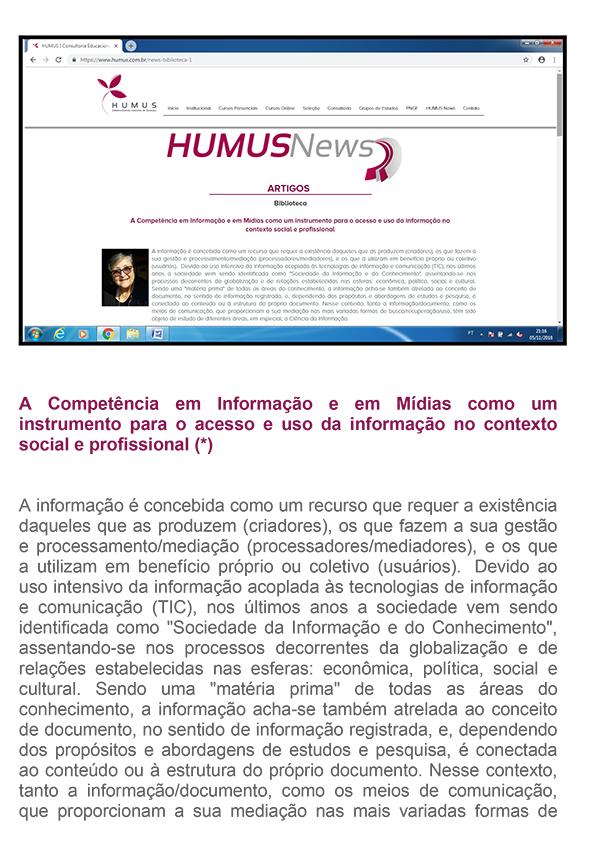 A Competência em Informação e em Mídias como um instrumento para o acesso e uso da informação no contexto social e profissional
