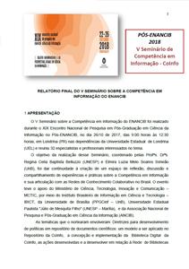 ENANCIB PÓS EVENTO V SEMINÁRIO COINFO 2018 RELATÓRIO FINAL Coord. Regina  Belluzzo