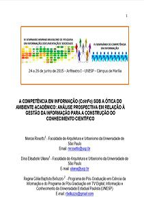 IV Seminário Hispânico Brasileiro-Competência em informação