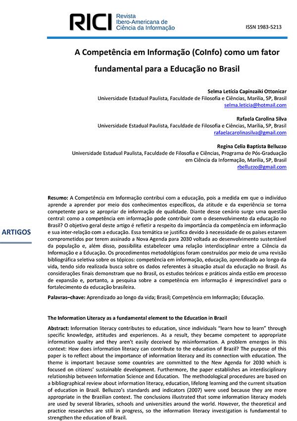 A Competência em Informação (CoInfo) como um fator fundamental para a Educação no Brasil