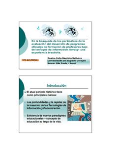 Competência em informação Apresentação no IFLA 2004 Regina Belluzzo
