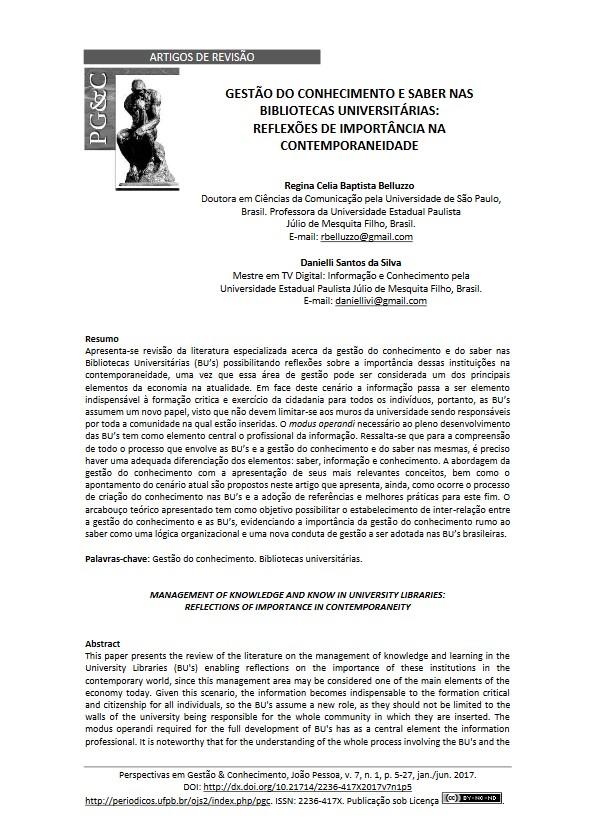 Regina C.B. Belluzzo e Danielli S. da Silva Gestão do Conhecimento e Saber 2017