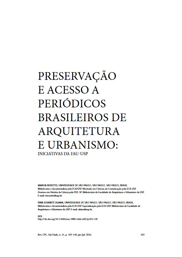 Marcia Rosetto e Dina Uliana Preservação e Acessso a Periódicos Brasileiros de Arquitetura e Urbanismo 2016
