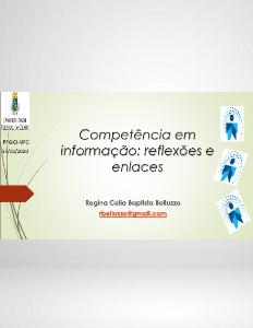 Competência em informação Regina Belluzzo Palestra Webinar Universidade do Ceará 27 maio 2020