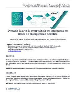 UNESP V Seminário Competência em Informação junho 2021 Palestra Estado da Arte CoInfo Prof. Regina Belluzzo
